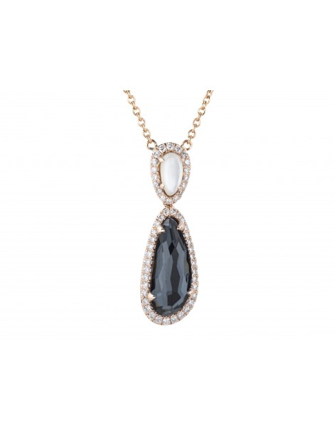 Maui Hematite Diamond Pendant Necklace - 14K Rose Gold