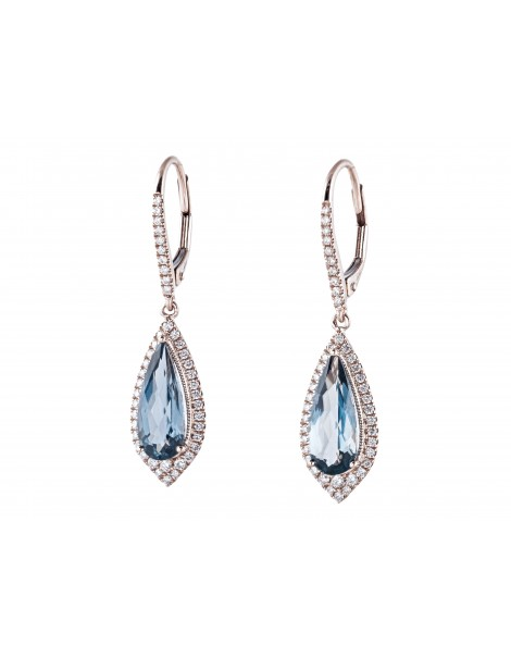 London Blue Topaz & Diamond Dangle Earrings White Gold