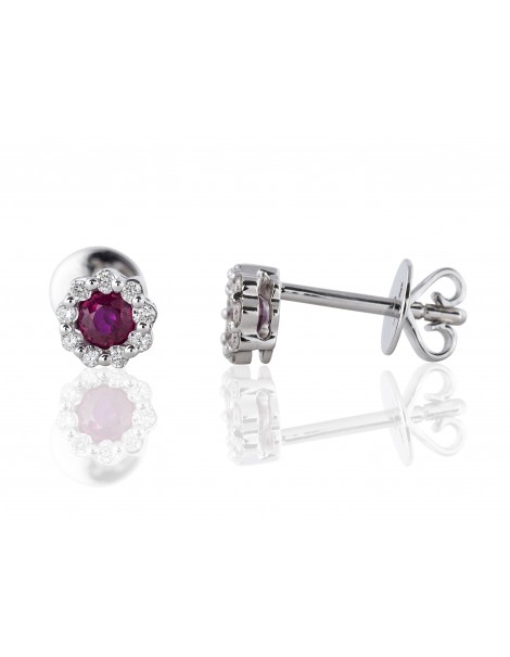 Ruby & Diamond Stud Earrings 14K White Gold