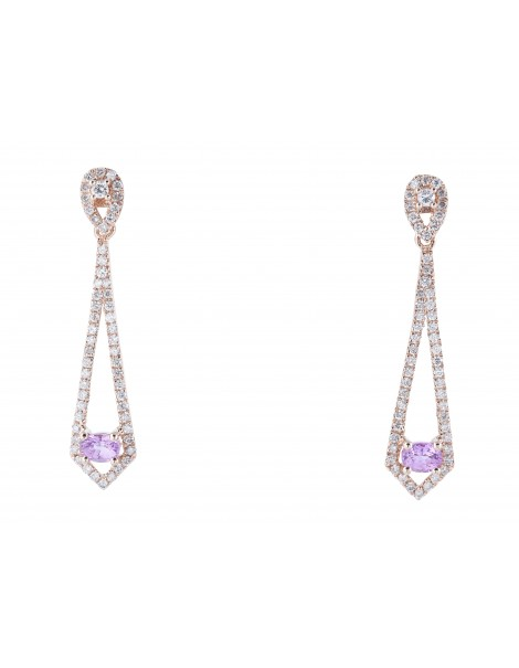 Rose Gold Pink Sapphire & Diamond Earrings