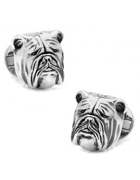 Sterling Silver 3D Bulldog Cufflinks