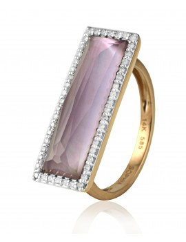 Rose Gold Amethyst & Diamond Ring