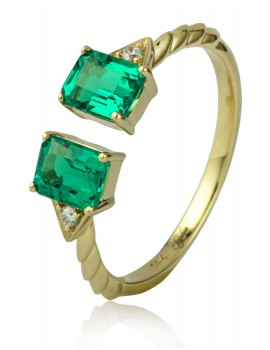 14K Yellow Gold Sophia by Design, Corundum Emerald & Diamond Ring