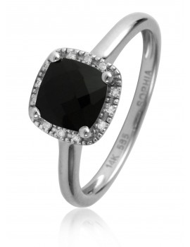 Black Agate & Diamond Ring
