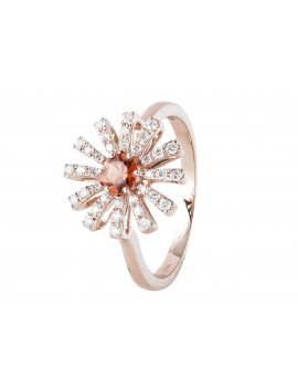 Rose Gold Orange Sapphire Diamond Flower Ring