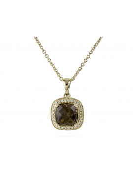 Yellow Gold Smokey Quartz & Diamond Pendant