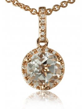 Rose Gold White Topaz & Diamond Pendant
