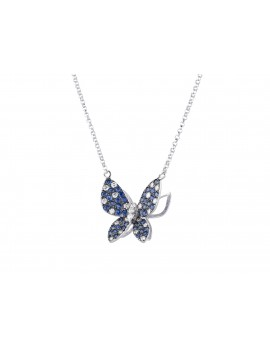 White Gold Sapphire and Diamond Butterfly Pendant