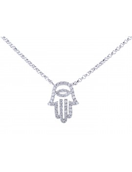 White Gold Diamond Hamsa Necklace
