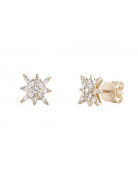 Diamond Cluster Star Studs Yellow Gold
