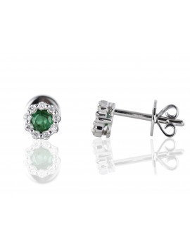 Emerald & Diamond Stud Earrings 14K White Gold