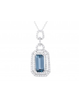 White Gold Diamond and London Blue Topaz Pendant Necklace