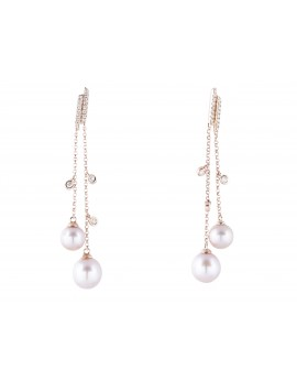 Rose Gold Diamond and Pearl Dangle Earrings