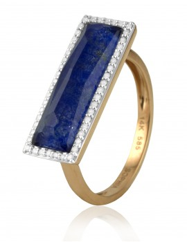 Rose Gold Crystal, Lapis & Diamond Ring