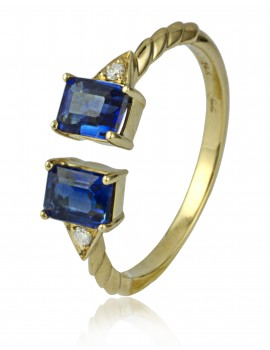 Yellow Gold Kyanite & Diamond Ring