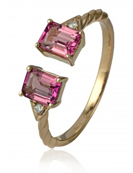 Rose Gold Pink tourmaline & Diamond Ring
