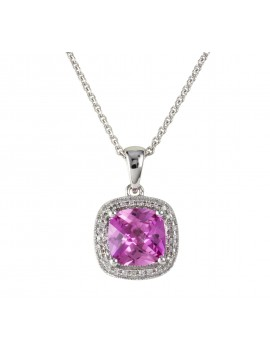 Pink Corundum and Diamond pendant