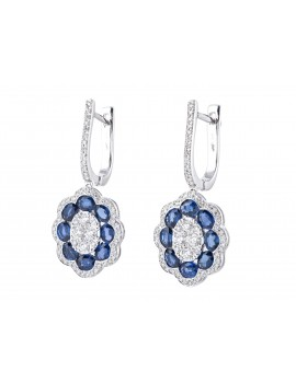 Sapphire & Diamond Earrings White Gold