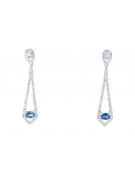 White gold Paraiba Topaz & Diamond Dangle Earrings
