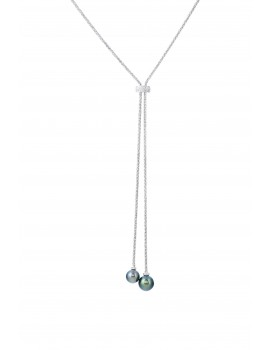 Black Pearl and Diamond Lariat necklace in White Gold