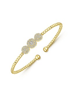 Yellow Gold Diamond Cluster Bangle