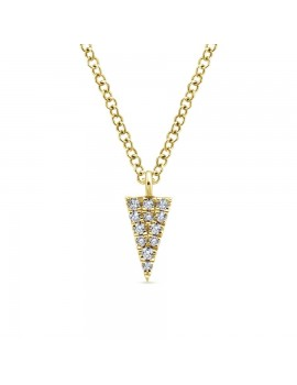 Yellow Gold Diamond Triangle Necklace