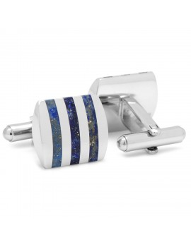 Stainless Steel Striped Lapis Cufflinks